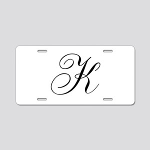 K Initial Black and White Sript Aluminum License P