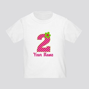 2nd Birthday Pink and Green Toddler T-Shirt