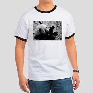 Black and White Panda Ringer T