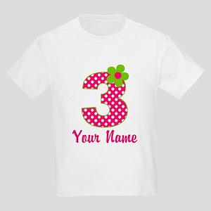3rd Birthday Pink Green Kids Light T-Shirt