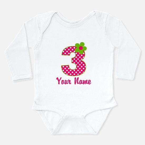 3rd Birthday Pink Green Long Sleeve Infant Bodysui