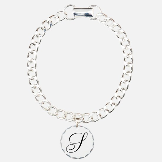 S Initial Black and White Sript Charm Bracelet, On