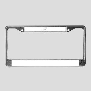 S Initial Black and White Sript License Plate Fram