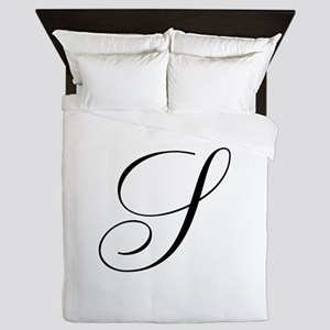 S Initial Black and White Sript Queen Duvet