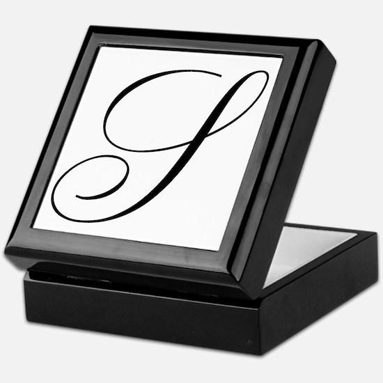 S Initial Black and White Sript Keepsake Box