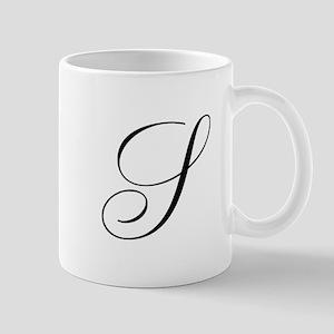 S Initial Black and White Sript Mug