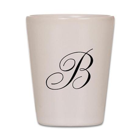 B Initial Black and White Sript Shot Glass