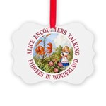 Alice Encounters Talking Flowers Picture Ornament