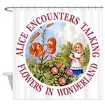 Alice Encounters Talking Flowers Shower Curtain