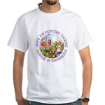 Alice Encounters Talking Flowers White T-Shirt