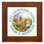 Alice Encounters Talking Flowers Framed Tile