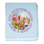Alice Encounters Talking Flowers baby blanket