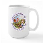 Alice Encounters Talking Flowers Large Mug