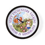Alice Encounters Talking Flowers Wall Clock