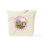 Alice Encounters Talking Flowers Tote Bag