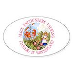 Alice Encounters Talking Flowers Sticker (Oval)