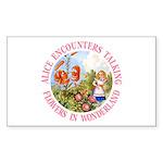 Alice Encounters Talking Flowers Sticker (Rectangl