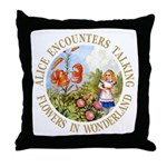 Alice Encounters Talking Flowers Throw Pillow