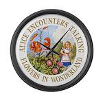 Alice Encounters Talking Flowers Large Wall Clock