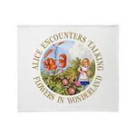 Alice Encounters Talking Flowers Throw Blanket