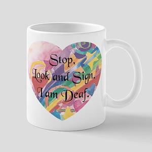 Stop, Look Sign Heart Mug