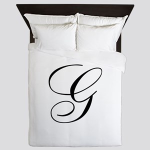 G Initial Black and White Sript Queen Duvet