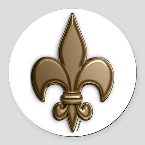 Gold Fleur De Lis Round Car Magnet