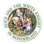 Alice and the White Knight Round Car Magnet