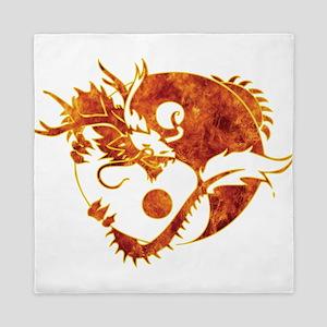 Yin Yang Dragon Fire Queen Duvet