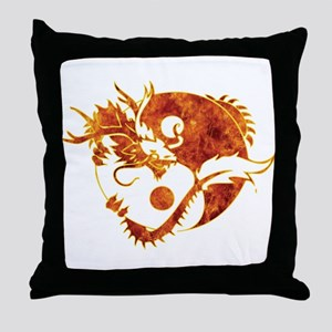 Yin Yang Dragon Fire Throw Pillow