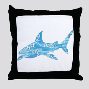 Great White Shark Grey Throw Pillow