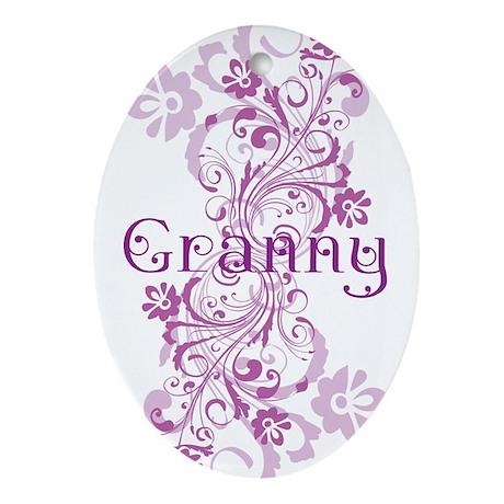 Granny Grandma Flowered Ornament (Oval)