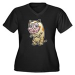 Grandma cat Women's Plus Size V-Neck Dark T-Shirt
