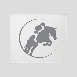 Horse Jumping Throw Blanket