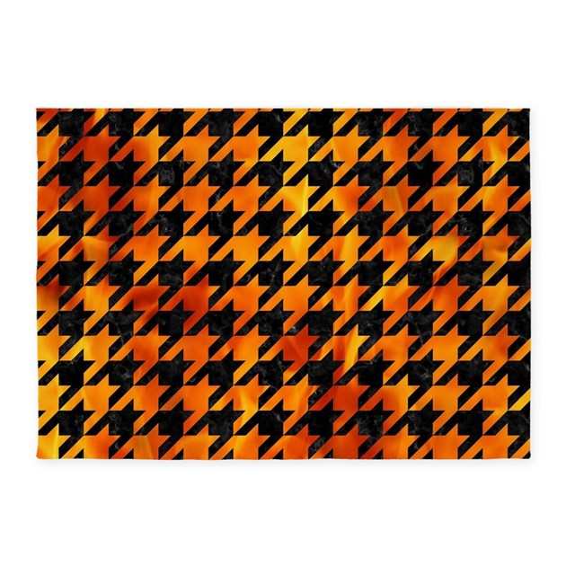 Marble Fireplace Rug: HOUNDSTOOTH1 BLACK MARBLE & FIRE 5'x7'Area Rug By
