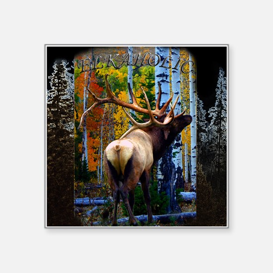 "Trophy bull elk Square Sticker 3"" x 3"""