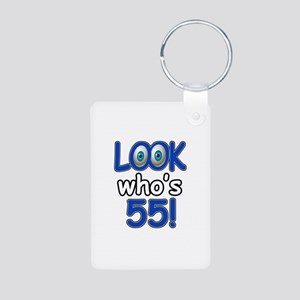 Look who's 55 Aluminum Photo Keychain