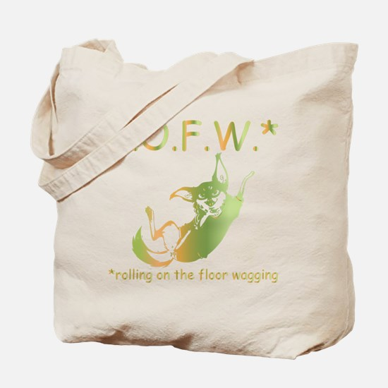rolling on the floor wagging Tote Bag