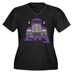 Trucker Lily Women's Plus Size V-Neck Dark T-Shirt