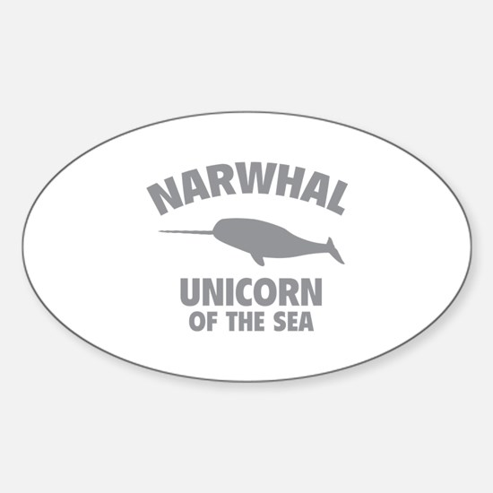 Narwhale Unicorn of the Sea Sticker (Oval)