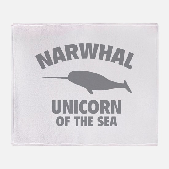 Narwhale Unicorn of the Sea Throw Blanket