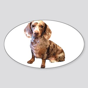 Spotty Dachshund Dog Oval Sticker