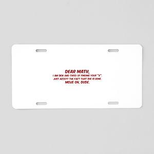 Dear Math Aluminum License Plate