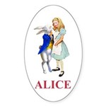 Alice and the White Rabbit Sticker (Oval 10 pk)