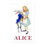 Alice and the White Rabbit Sticker (Rectangle 10 p