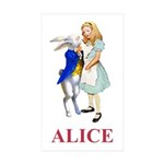 Alice and the White Rabbit Sticker (Rectangle 10 p