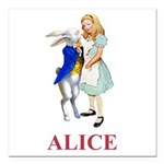 Alice and the White Rabbit Square Car Magnet 3