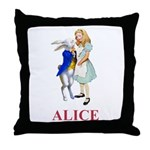Alice and the White Rabbit Throw Pillow