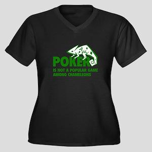 Poker Chameleons Women's Plus Size V-Neck Dark T-S