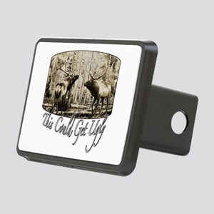ugly elk 2 Rectangular Hitch Cover